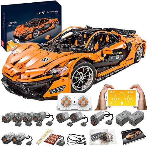 Haunen Technik Bausteine Auto P1 Racing Auto, 3228Teile 1:8 2.4G Sportwagen mit 9 Motoren Bausteine Konstruktionsspielzeug Kompatibel mit Lego Technic
