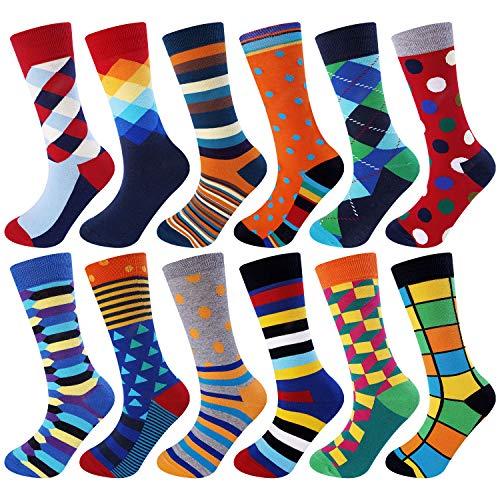 Jielucix Bunte Socken Herren Lustige Business Baumwolle Anzugsocken für Männer 43-46 (Bunt A, 12)