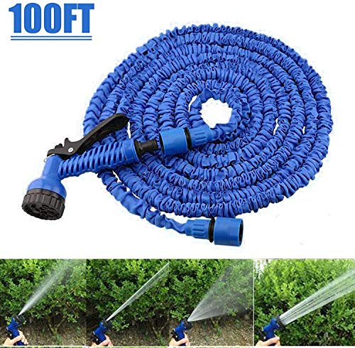 Tuinslang Pipe Tubes Multifunctionele Flexibele Waterslangen Met Spuitbus Nozzle 3 Times Expanding Expandable Water Hosepipe Blue MUMUJIN (Size : 15M)