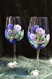 Hand Painted Wine Glasses - Roses Lavender and White on Cobalt Blue glass (Set of 2)