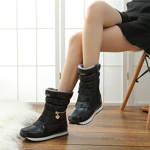 ZHRUI botas de Invierno Moda para mujer botas de Nieve Estilo de Moda zapatos al Aire Libre (Color   negro, tamaño   4=37 EU)