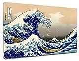 Quadro Moderno La Grande Onda di Kanagawa -HOKUSAI The Great Wave of Kanagawa - Quadro stampa su tela canvas con o senza telaio (CM 130X87, QUADRO CON TELAIO IN LEGNO)