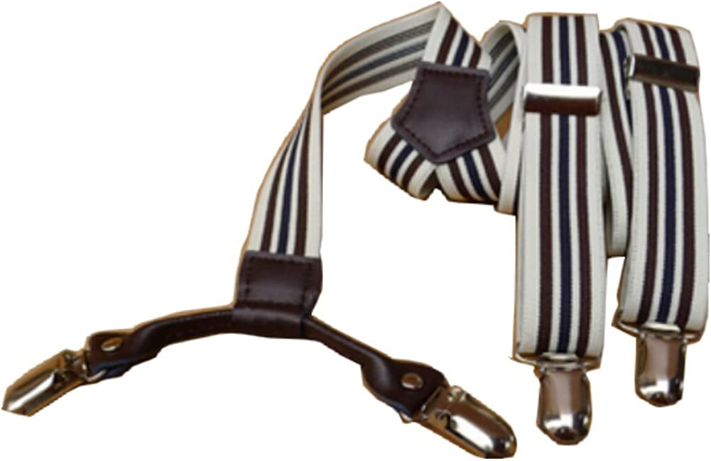 Casual Style Striped Suspenders Braces Adjustable 3 Clips Clip-on Width 0.98