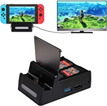 Shumeifang Nintendo Switch Dock, Mini Portable Charging Stand HDMI 4K TV Adapter, Switch TV Docking Station with 4K HDMI & USB 3.0 & USB 2.0 Inputs, Replacement for Official Nintendo Charging Dock