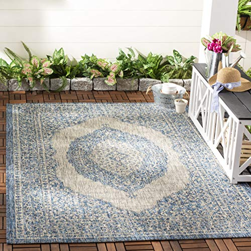 """Safavieh Courtyard Collection CY8751 Indoor/ Outdoor Non-Shedding Stain Resistant Patio Backyard Area Rug, 4' x 5'7"""", Light Grey / Blue -  CY8751-36812-4"""