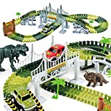 AUUGUU Kids Dinosaur Race Car Track – 156 Piece Dinosaur Road Race Set with Flexible Track, Dino Toys, Bridge, Ramps and 2 Race Car Toys – Prehistoric Race Track for Kids Age 3-5