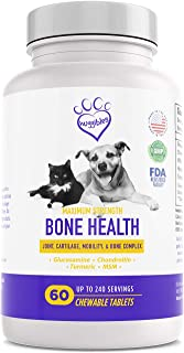 HUGGIBLES Bone & Joint Supplement for Cats & Dogs   Glucosamine Chondroitin, MSM & Turmeric Curcumin   Support Healthy Hips, Arthritis & Pain Relief   60 Chewable Pet Health Nutrition Tablets