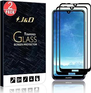 J&D kompatibel med 2-pack Huawei Y7 2019/Huawei Y7 Pro 2019/Huawei Y7 Prime 2019 skärmskydd, [Inga upplysta kanter] [INTE ...