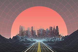 1980s Style Retro Digital City Landscape Sunset Cool Wall Decor Art Print Poster 24x36