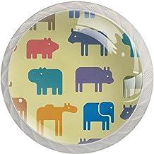 Lade handgrepen trekken decoratieve kast knoppen dressoir lade handvat 4 stuks,dierlijke patroon