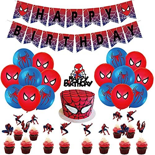 Compleanno Spiderman Decorazioni Palloncino Spider Man Striscioni Spiderman Torta Decorazioni Forniture per Feste a Tema di Supereroi