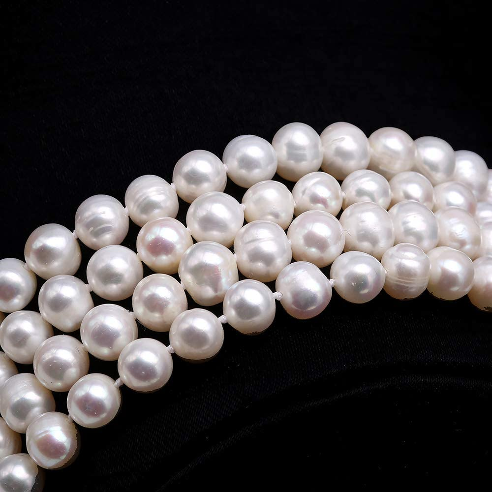JYX Pearl Long Sweater Necklace Gorgeous Genuine 7.5mm Natural Near Round White Freshwater Pearl Necklace for Women 50