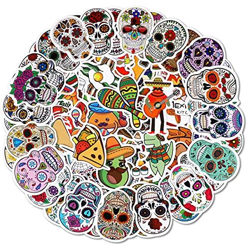 Qpout 100 pegatinas de calavera de azúcar para fiesta mexicana, cinco de mayo, día de los muertos, pegatinas para niños, diario, portátil, nevera, taza, caja de regalos, accesorios de decoraci