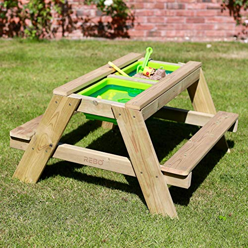 Rebo Sunshine and Showers Children's Sand or Water Picnic Table – Double