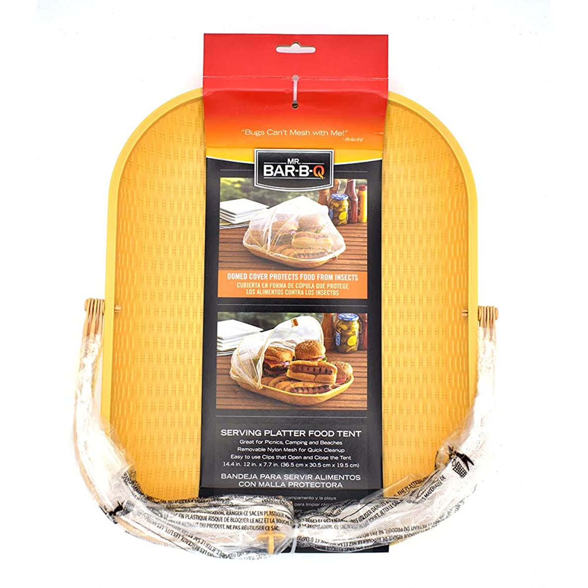 Mr. Bar-B-Q Rectangular Food Serving Tray With Clip on Nylon Mesh Screen Tent Insect-resistant Food Cover - Food Storage Basket for Tailgates, Picnics and BBQ