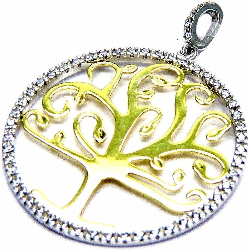 Pegaso gioielli ciondolo oro bianco giallo 18kt (750) albero della vita con zirconi bicolore donna ragazza CN326