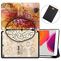"""MAITTAO New iPad 7th Generation 10.2"""" Case 2019 with Apple Pencil Holder, Shockproof Soft TPU Back Cover with Auto Sleep/Wake, Trifold Stand Smart Case Fit iPad 10.2 inch,Creative Brain 6"""