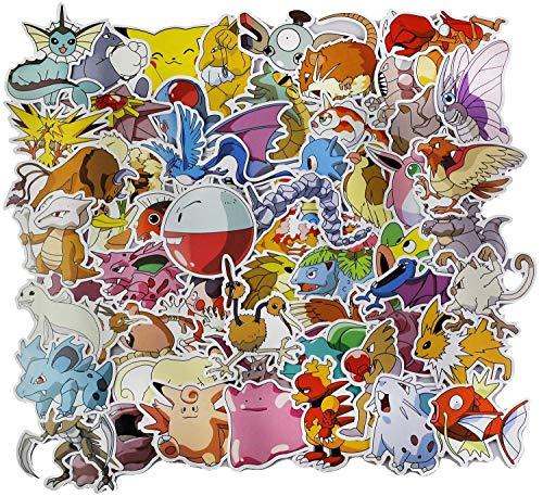 Hyde Pokemon Sticker Pack, 81 Stück Anime Stickers, Wasserdicht Aufkleber Kind Teenager Pokémon Stickers für Auto Motorräder Fahrrad Skateboard Gitarre Snowboard Gepäck Notebook Laptop (81 Stück)