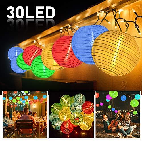 Solar Lichterkette Aussen Lampions, Plaights Lampion Lichterkette mit 30 LED's in bunt für Garten, Terrasse, Balkon, Party und Feiern