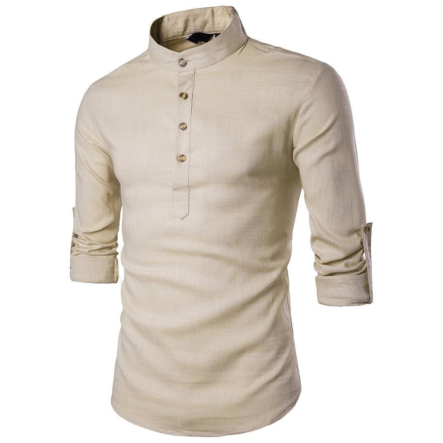 Ghazzi Men Shirt Stand Neck Long Sleeve Shirt Cotton Linen Tops Button Shirts