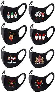 8PCS Christmas Soft Face_Masks lavables para adultos, reutilizables protectores transpirables Face_Covering, Anti Family C...