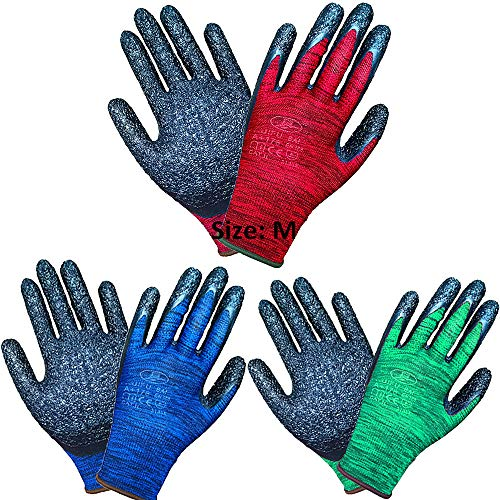 3Pairs Superior Grip Gargening Gloves Durable Latex Coated Work Gloves (Medium-3Pairs)