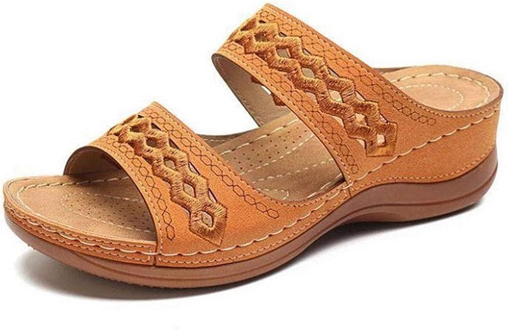 Women's Vintage Low Wedges Slides Sandals Open Toe Summer Slip on Slippers Comfortable Flat Walking Shoes
