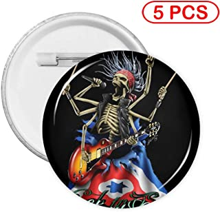 Kuyanasfk Round Button Pins Badge Pirate Skull Play Guitar Rock in Sacra Boys Girls Women Men Back Gifts Birthday Party Favors Supplies 1 PCS