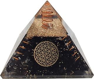 Crocon Black Tourmaline Orgone Pyramid with Flower of Life Symbol for Crystal Energy Generator Reiki Healing Chakra Balancing EMF Protection Aura Cleansing Spiritual Meditation Decor Size:2.5-3 Inch