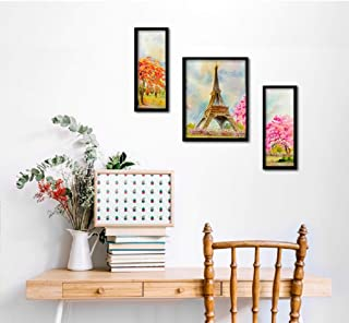 PAPER PLANE DESIGN 3 Pieces Set Flower Floral Painting Frames Wall Hanging Art