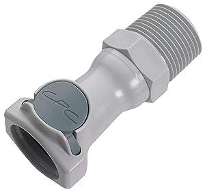 "CPC (Colder) HFC10812 High-Flow Quick-Disconnect, Non-Valved PP Body, 1/2"" NPT(M)"