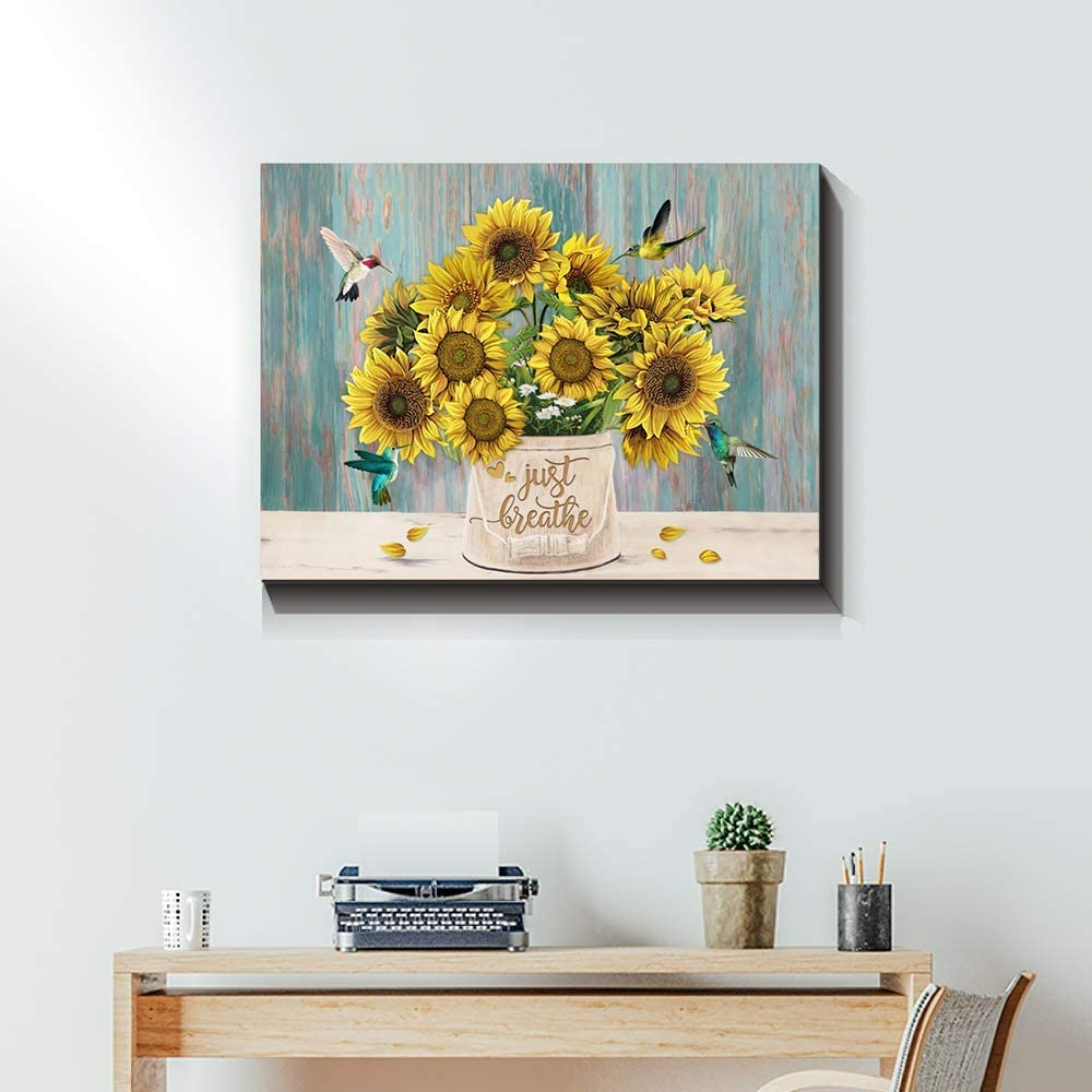 JUSTBR Rustic Yellow New life Sunflower in Country Vase Cottage Max 55% OFF Farmhouse