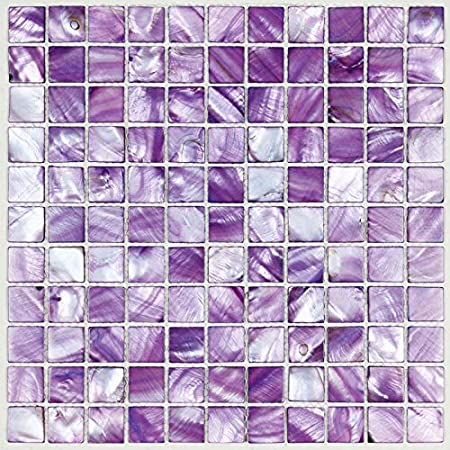 Perfect for Kitchen and Bathroom and Accent Wall BK011 Stained Seashell Mosaic Colorful Mother of Pearl Tiles Hominter 6-Sheets Purple Shell Tile Backsplash