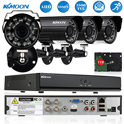 KKmoon Home Security Systems 4CH HD CCTV Surveillance DVR Security System 1080N DVR + 4720P Camera + 460ft Cable + 1TB HDD support IR-CUT Filter Infrared Motion Detection etc
