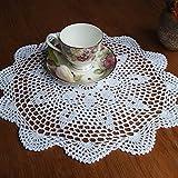 ZOYOSI - Tovaglietta rotonda in puro cotone, 37 cm, colore: Bianco