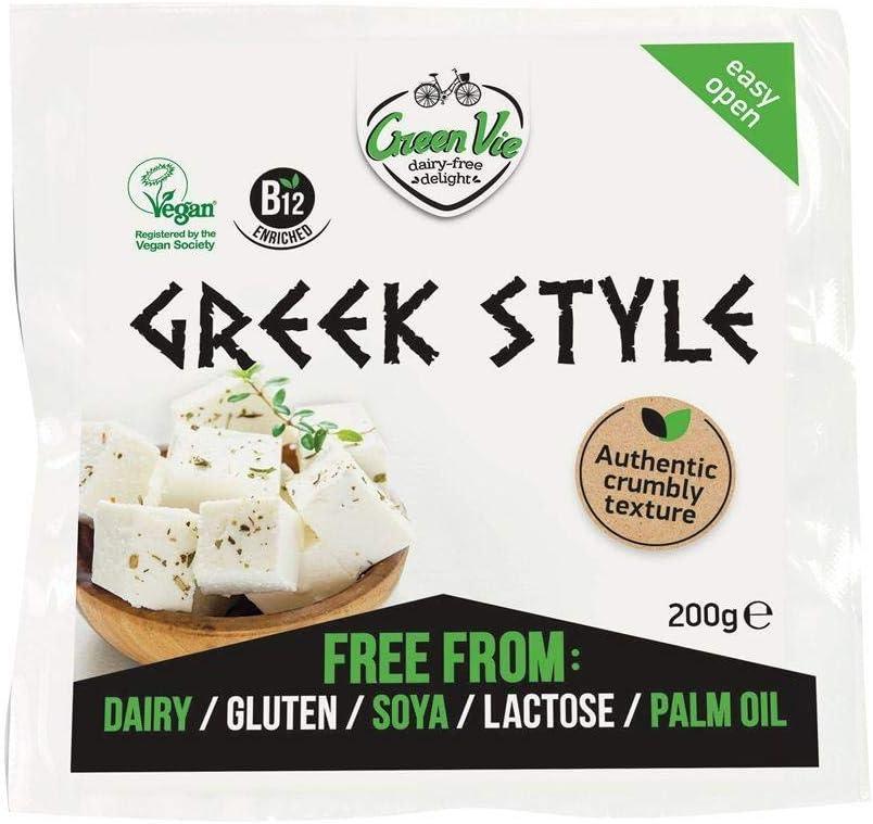 GreenVie Queso Feta mediterránea Griego Bloque vegano 200g (Pack de 6)