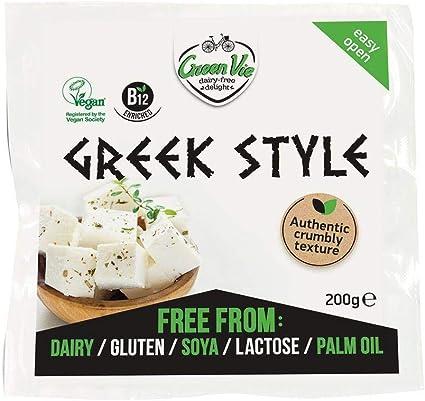 GreenVie Queso Feta mediterránea Griego Bloque vegano 200g (Pack de 2)