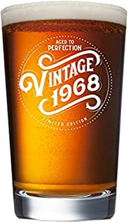 1968 51st Birthday Gifts for Women and Men Beer Glass | Funny Vintage 51 Year Old | Anniversary Gift Ideas for Him Her Dad Mom Husband Wife | 16 oz Pint Glasses | Party Decorations Supplies Mug Cup