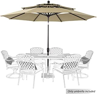 PHI VILLA 10ft Patio Umbrella Outdoor 3 Tier Vented Table Umbrella with 8 Sturdy Ribs (Beige)