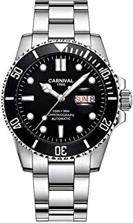 Luxury Mens Stainless Steel Automatic Dive Watch Unidirectional Ratcheting Bezel Sport Bracelet Watches with Day Date