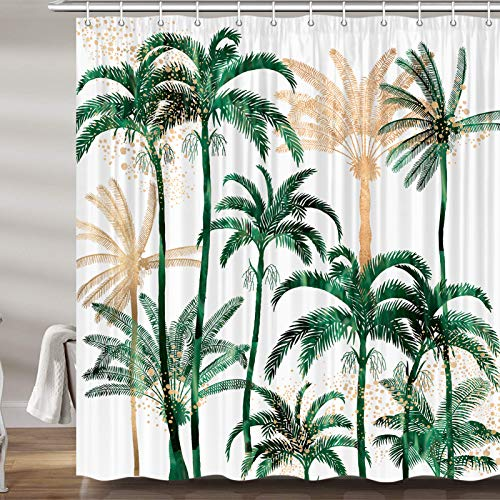 Palm Tree Shower Curtain for Bathroom, Summer Tropical Beach Fabric Shower Curtains Set, Summer Seaside Scene Bathroom Accessories Decor, Hooks Included (69W X 72H)