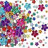 CHALA 1450 Pezzi Strass Fiore,Gemme Adesive 6mm 10mm 12mm 21mm Acrilico Colori Diversi Bambini Decorazione Artigianale(Nessuna Appiccicosità)