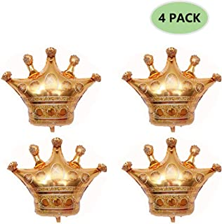 4 Pack Crown Balloons, Foil Helium Balloons Fit for Birthday Wedding Party Decoration, 31.1 x 25.6 inch (Inflatable)