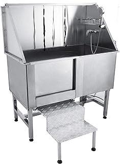 WLDOCA Baño Aseo Profesional Acero Inoxidable Mesa Grooming Perro Bañera Faucet Tubo 49x28x27 Pulgadas
