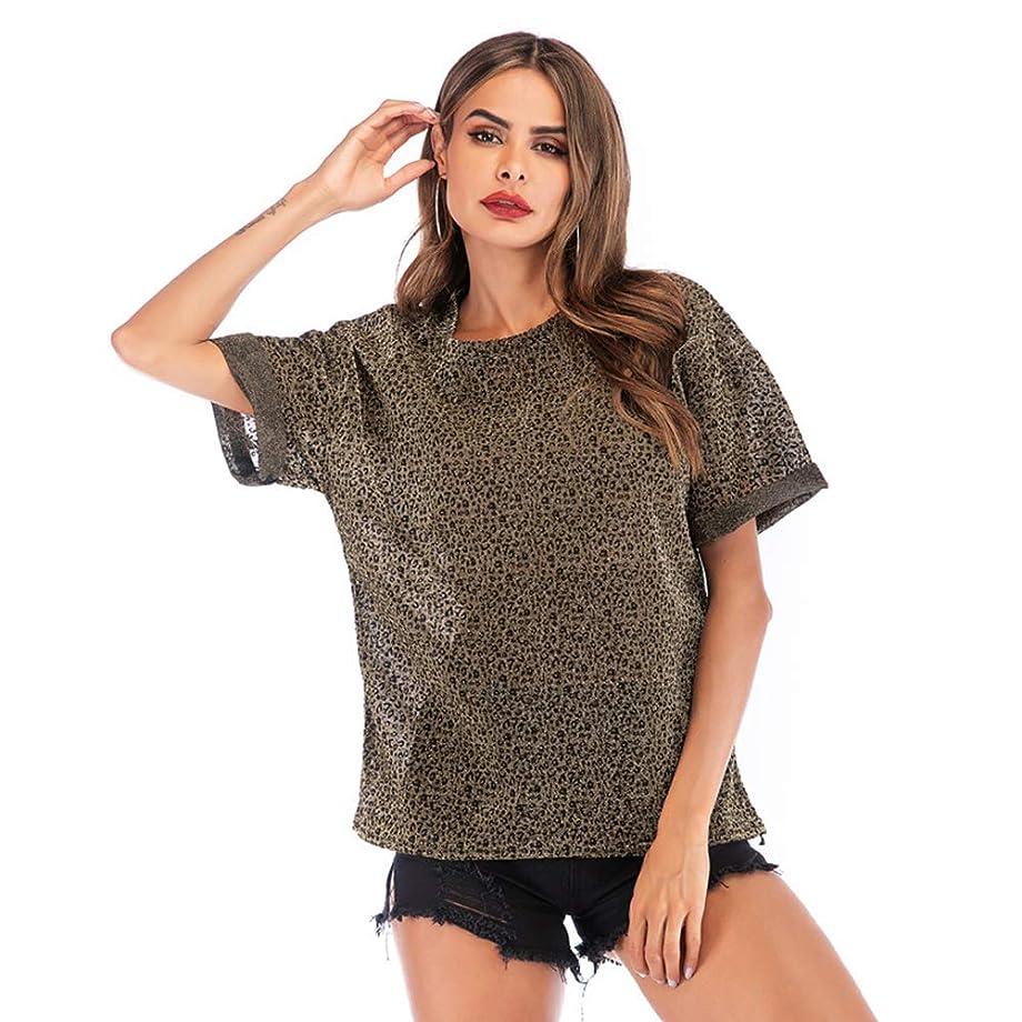 ヒューズさびた薬理学ヒョウ柄の明るい絹の緩い女性の半袖、さわやかでシンプルな、ゆったりとした快適な、ゆったりしたバージョン,XL