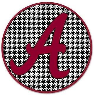 AbFloral Alabama Crimson Tide Houndstooth Sign for Wall Decor, Man Cave, Garage, Door Hanger, Wreath Decorations Supplies Attachment, Aluminum Metal, Round, Circular, 12 Inch, 1 Piece