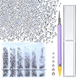 3456Pcs Crystal Rhinestones With Wax Pen Picker, Teenitor 6 Mixed Sizes Round Glass FlatBack Nail Crystals Diamonds Glue On Stones Gems Round Beads For DIY Craft Jewels Nail Face Makeup, Crystal clear