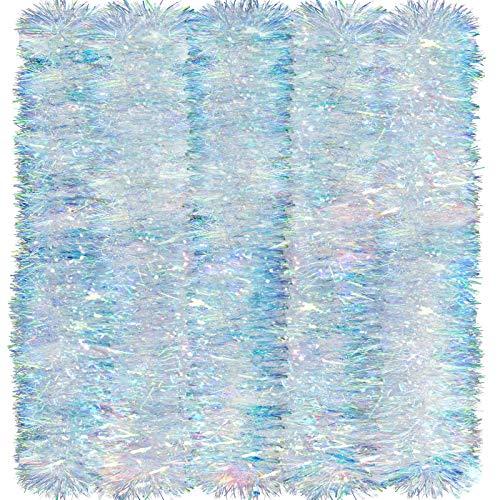 26,2 Fuß Weihnachten Lametta Girlande Glänzend Girlande Twist Girlande Hängende Dekorationen für Weihnachten Party Innen und Außen Dekorationen