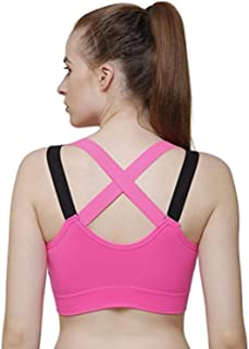 GLAMROOT Women's Padded full Coverage Cross Back Sports Bra with Removable Soft Cups for Gym, Yoga, Running, and Fitness,F...