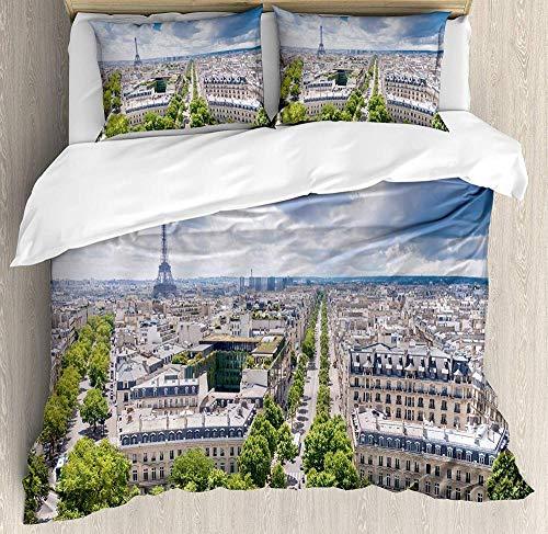 zpangg Europäische Bettwäscheset Antenne Paris Eiffelturm Französisches Erbe Kultur Architektur Bild Dekorativ